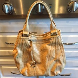 Kooba Handbags - Kooba tan ostrich print shoulder bag