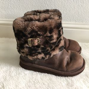 UGG Other - UGG Girls Animal Print Leather Boots size 1