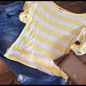 Yellow & oatmeal striped Gap sweater