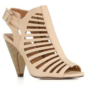 Delicious Shoes - Brand New Delicious Beige Laser Cut Heels