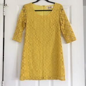Yellow Crochet Mod Style Shift Dress