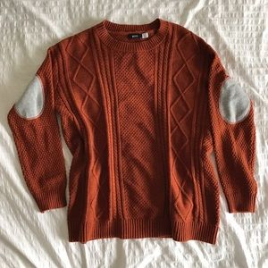 Urban Outfitters Cable Knit Elbow Patch Sweater