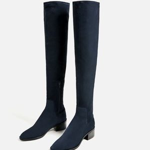 ZARA LEATHER OVER THE KNEE SUEDE FLAT BOOTS
