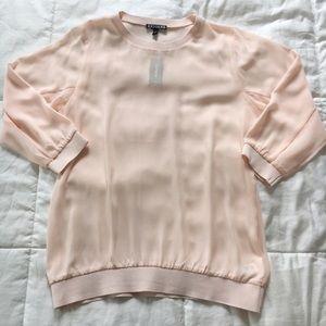 Express Light Pink Sheer Top