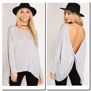 She and Sky Tops - LONG  SLEEVE PULL OVER TOP WITH OPEN BACK