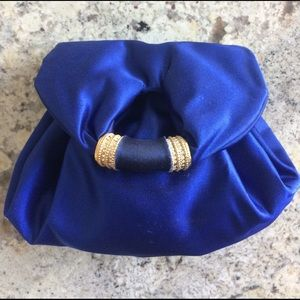 Handbags - Royal blue satin evening bag