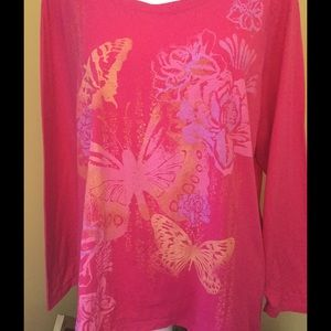 Just My Size Tops - Sparkly Floral Pink Blouse