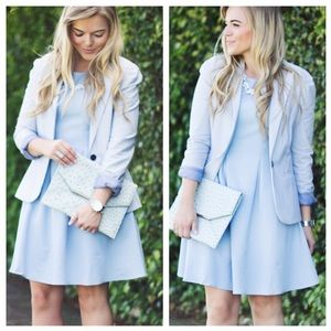 Darling Dresses & Skirts - Pale Blue Pleated Dress With Lace Detail