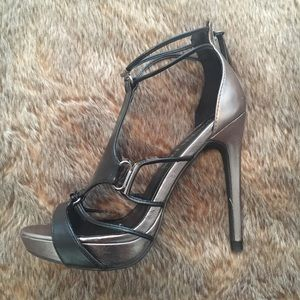 Paper Fox Metallic Strappy Sexy Heels