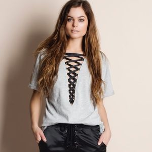 1DAYSALE Heather Grey Lace Up Tee / Top