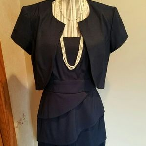 Connected Apparel  Dresses & Skirts - Connected Apparel Blue Sleeveless Dress Suit