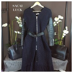 Sacai Jackets & Blazers - SACAI LUCK LEATHER TRIMMED DRESS COAT