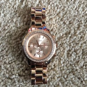 Geneva rose gold accessory watch