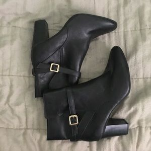 Merona Black Buckle Faux Leather Boots