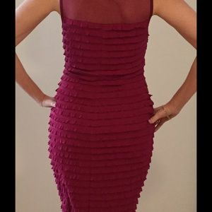 Connected Apparel Dresses & Skirts - Ruffled fuchsia stretch dress sz 6 party time!