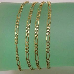 """Jewelry - Estate 10k gold figaro style necklace 22"""" Italy"""