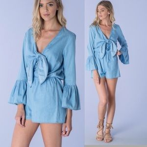 Pants - 🦋1 LEFT SALE🦋 ❣1 MED LEFT❣ LIGHT DENIM ROMPER