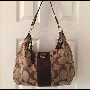 Coach Handbags - 🛍 Coach Brown Tan Signature C Shoulder Bag