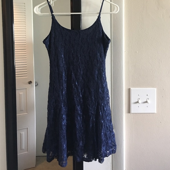 Poetry Dresses & Skirts - Navy lace skater dress