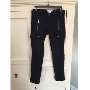 Michael Kors Black Zipper Thick Knit Leggings