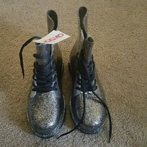 Josmo Other - Josmo black silver glitter jelly boots