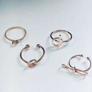 Jewelry - New! Rose Gold 4 Piece Midi Ring Set