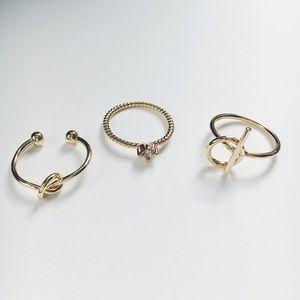 Jewelry - New! Gold Knot & Rhinestone 3 Piece Midi Ring Set