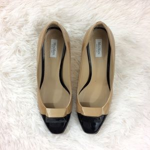MaxMara Shoes - MAXMARA tan+black cap toe heels