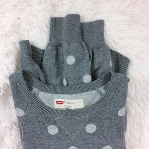 LEVI'S heathergrey polka dot crewneck sweater