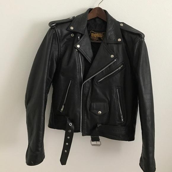 Bonus Mens Genuine Leather Biker Jacket