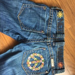 Frankie b make love not war studded jeans