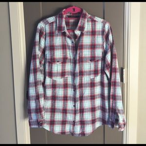 ZARA plaid snap-front long sleeve top Large 10 12