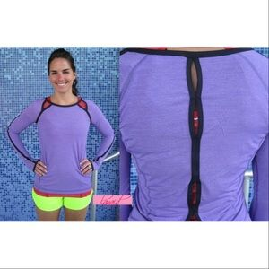 lululemon athletica Tops - Lululemon Run Team Spirit Power Purple Open Back 4
