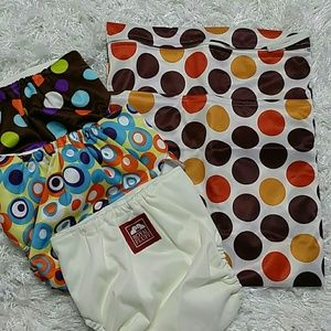 Other - Three cloth diaper and Polka dots wet bag.  Kids.