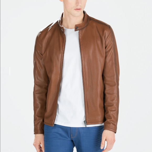 9d761cec New Zara Man Faux Leather Perforated Moto Jacket NWT