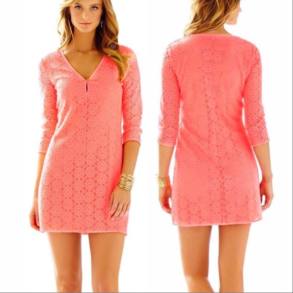 2032cb3696f1 Lilly Pulitzer Dresses & Skirts - 🆕Lilly Pulitzer Lamora Lace Crochet  Coral Dress