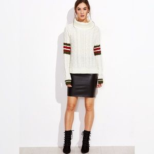 ✨White Cable Knit Striped Sleeve High Low Sweater✨