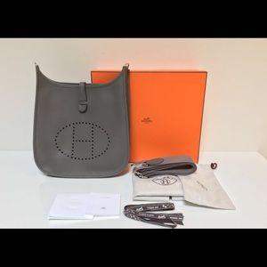 Hermes Handbags - Hermes Evelyne PM Etain Taurillion Clemence Bag