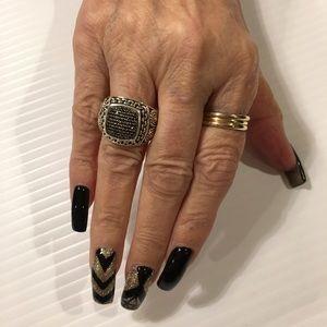 Sterling/24k gold/Black Diamond Ring $ FRIM