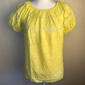 Vintage puffer sleeve lace spring blouse medium