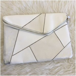 White Grey Right Angle Geometric Patchwork Clutch
