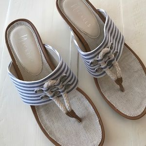 Blue and white striped wedge sandals