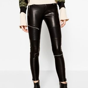 NWT. ZARA Faux Leather Biker Skinny pants