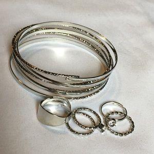 Silver bracelet and rings bundle