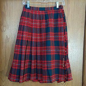 Vintage Dresses & Skirts - Vintage red and green plaid wool pleated skirt