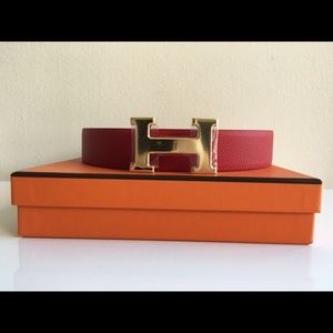 Hermes Accessories - Hermes Belt 32MM Rouge Polished Gold Buckle 85CM