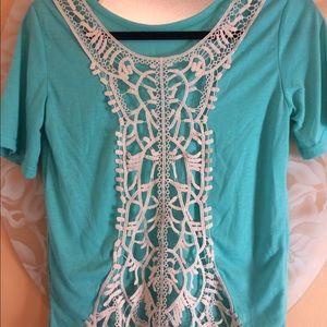 Japan Rags Tops - Crochet back turquoise tee.💙