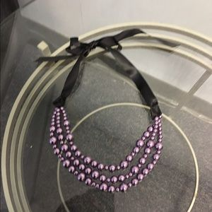 Accessory Collective Accessories - Beautiful glass purple pearls with silk tie