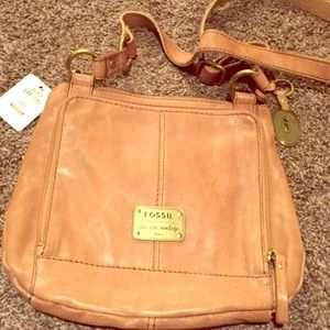 Fossil brown suede leather crossbody bag