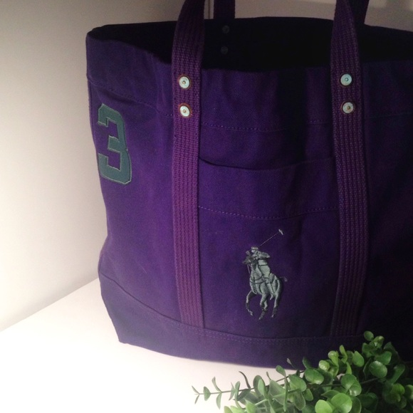 Polo by Ralph Lauren Bags   Polo Ralph Lauren Purple Canvas Tote Bag ... 2484d8d0b0